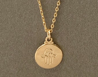 001-032SP 2pcs Hand of Fatima Pendant-45x45m Matte Gold Plated Round Disc Hamsa