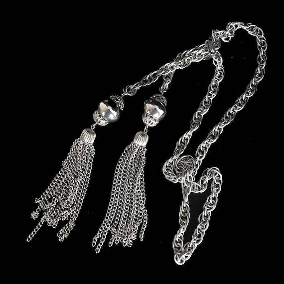 Long silver tone bolero with huge tassels necklace