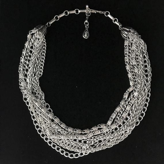 Vintage multi-strand silver chain necklace//modern