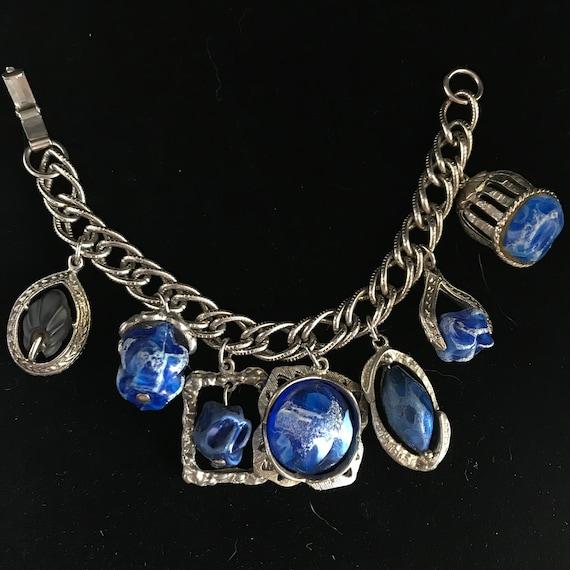Vintage cocktail charm bracelet//faux lapis charm