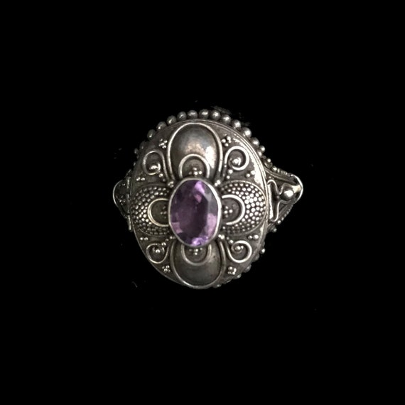 Vintage poison ring//c.1960/ sterling silver poiso