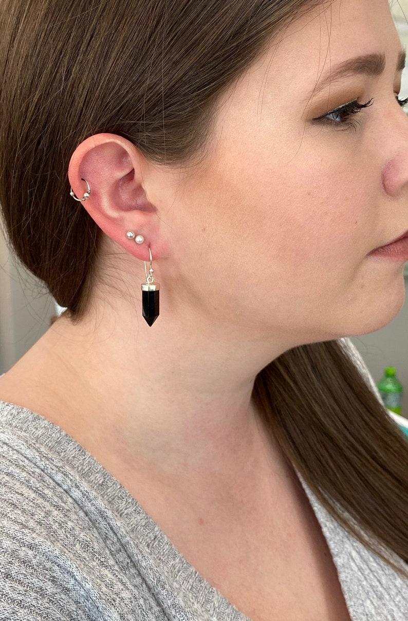 Sterling Silver Onyx Dangle Earrings