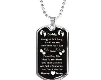 Gift for Dad Marine Military Deployment Gift Personalized Dog Tag Necklace for Couple Set Daddy Girl Father Daughter Daddy/'s Necklace