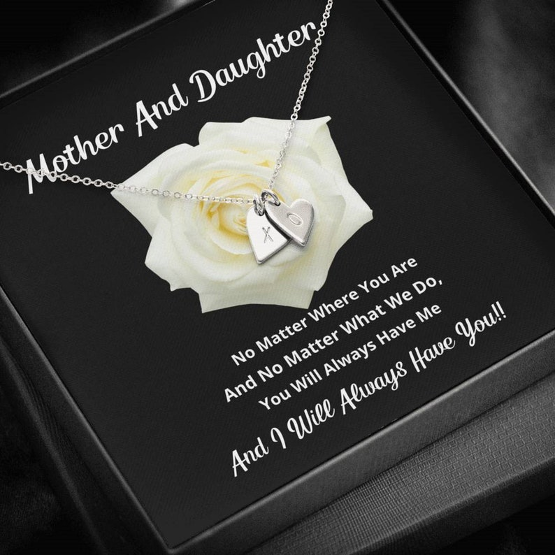 Daughter Birthday Gift Box Mother and Daughter Heart Necklace Mom Birthday Gift Mom Gift Message Card