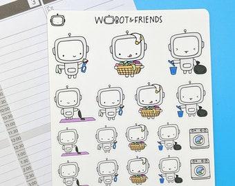 Chores & Cleaning Wobot Planner Stickers - hand drawn sticker sheet C03