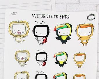 Animal Onesies #3 Wobot Planner Stickers - hand drawn sticker sheet M17