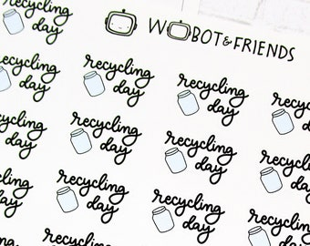 Glass & Plastic Recycling Day Script Planner Stickers - hand drawn sticker sheet P35