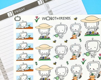 Gardening Wobot Planner Stickers - hand drawn sticker sheet H04