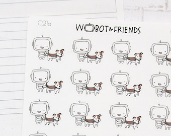 Walk the Pup (multiple options) Wobot Planner Stickers - hand drawn sticker sheet C21
