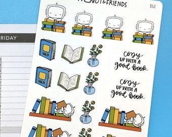 Book Lover Wobot Planner Stickers - hand drawn sticker sheet B14
