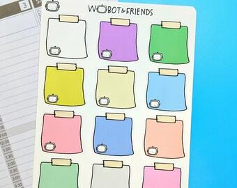 Big Sticky Notes Wobot Planner Stickers - hand drawn sticker sheet F01