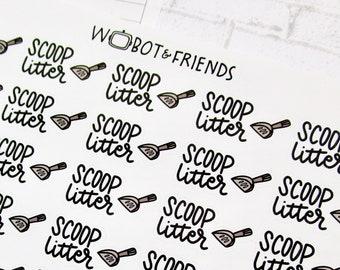 Scoop Litter Script Planner Stickers - hand drawn sticker sheet P32