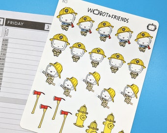 Fire Fighter Wobot Planner Stickers - hand drawn sticker sheet B13