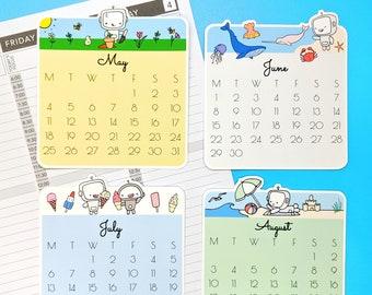 2020 Calendar Die Cut Wobot Planner Stickers - hand drawn sticker set H06