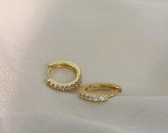 Gold Zircon Huggies Earrings- Gold Huggies- Ear Huggies- Earrings Huggies- Hoop Earrings- Gold Earrings- Cute Earrings- Gifts for Mom
