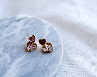 Chic Houndstooth Heart Stud Earrings- Cute Earrings- Statement Earrings- Faux Leather Earrings- Minimalist Jewelry- Gift for her