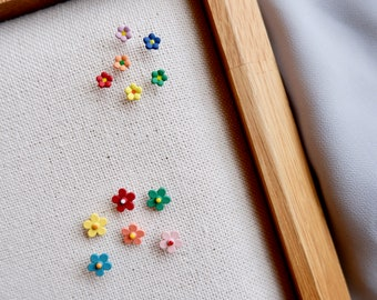 Cute Small Flower Stud Earrings- Price For Each- Ear Studs- Colorful Earrings- For Kids- For Girls- Cute Earrings- Kawaii Earrings- Small