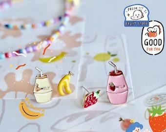 Cute Milk Box Stud Earrings- Kawaii Earrings- Trendy Earrings- Colorful Earrings- Cute Stud Earrings- Gifts for Her- Best Friend Gifts