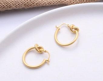 Matte Gold Knot Hoops- Small Hoops- Hoops Earrings- Trendy Earrings- Gift for Mom- Statement Earrings- Cute Earrings- Minimalist Jewelry