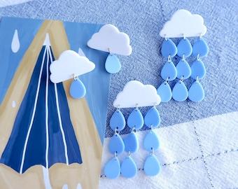 Cartoon Blue Cloud Rain Drop Earrings- Cute Earrings- Statement Earrings- Trendy Earrings- Handmade Jewelry- Weird Earrings- Gifts for her