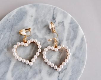 No Piercing Clip-on Earrings- Heart Shape with Pearl- Gold Earrings- Clip on Earrings- Gifts for Mom- Jewelry Gifts- Cute Earrings