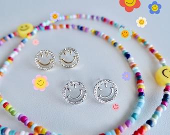 Zircon Smiley Face Stud Earrings- Cute Earrings- Kawaii Earrings- Crystal Jewelry- Jewelry Gift- Gifts for Her- Trendy Jewelry