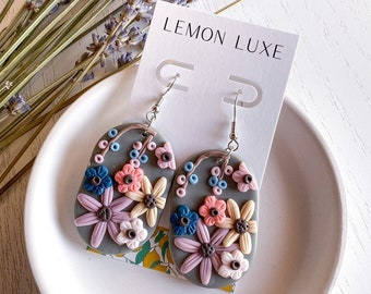 Floral Clay Earrings, Polymer Clay Earrings, Flower Earrings, Circle- Statement Earrings, Autumn Earrings