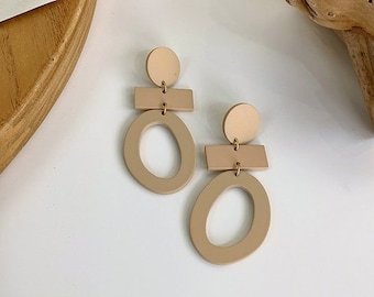 Brown Clay Earrings, Polymer Clay Earrings, Geometric Earrings, Statement Earrings, Autumn Earrings- Neutral