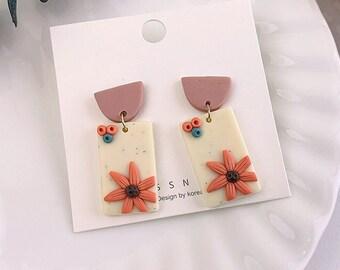 Clay Earrings, Floral Earrings, Polymer Clay Earrings, Geometric Earrings, Statement Earrings, Autumn Earrings, Colorful Jewelry