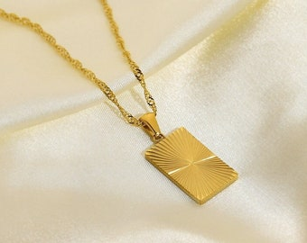Gold Rectangle Charm Necklace, Gold Charm Pendant, 18K Gold Necklace, Shining Sun Necklace, Gift For Her