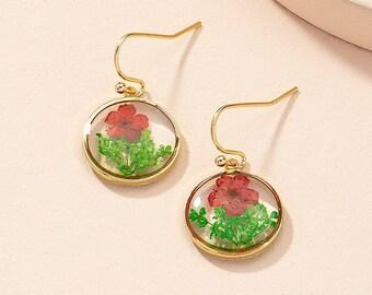 Dried Flower Earrings  | Dried Flowers | Delicate Floral Drop Earrings | Pressed Daisy Drop Earrings | Korean Earrings | Delicate Earrings