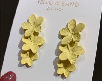 Yellow Flowers Earrings, Statement Earrings, Extra Long Earrings, Floral Earrings