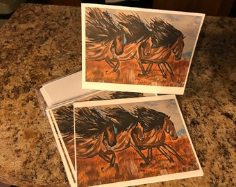 Set of 8 note cards with horses on them painted in water colors