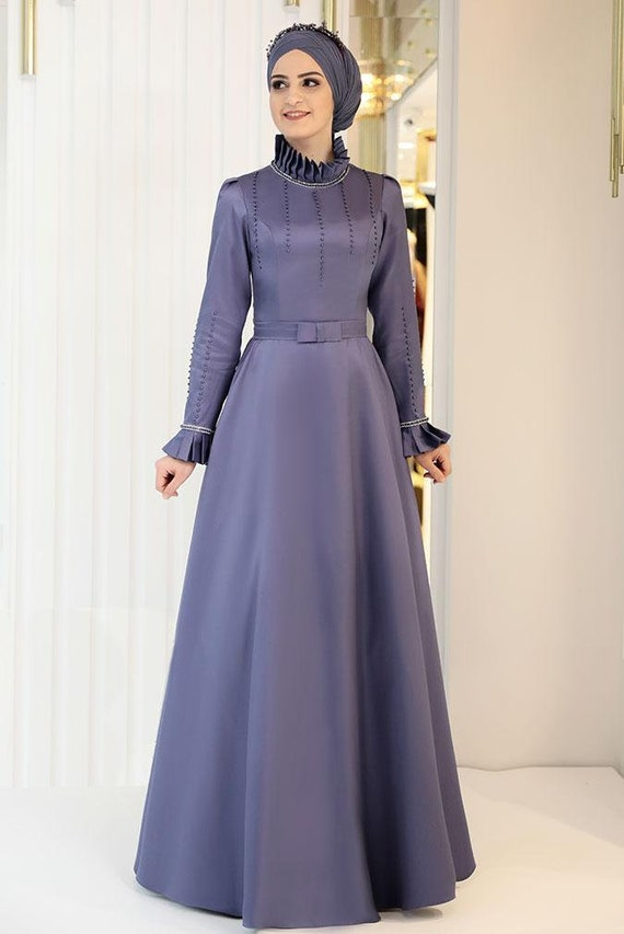 Islamic Dress Engagement Evening Gown Nikah Outfit Long Dress Henna Hijab Long Sleeve Maxi Dress Muslim Wedding Dress Bridesmaid