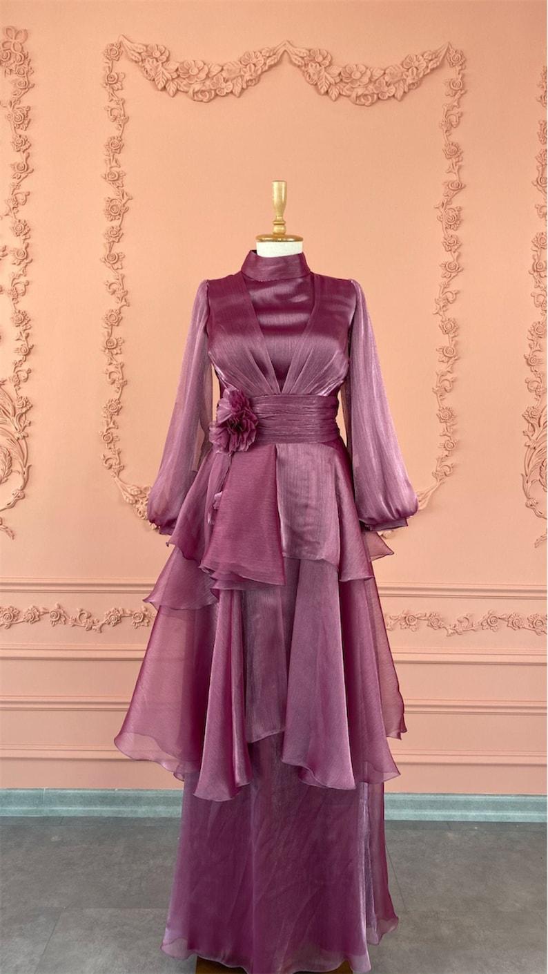 Bridesmaid Nikah Hijab Long Sleeve Maxi Dress Long Dress Islamic Dress Henna Engagement Evening Gown Lilac Muslim Wedding Dress