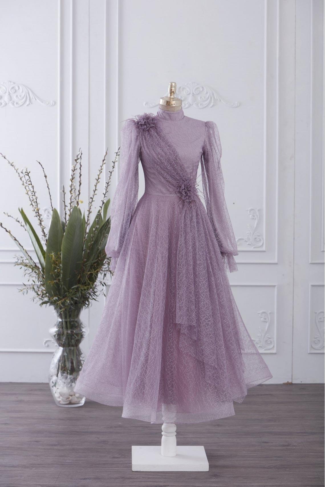 Vintage Style Dresses | Vintage Inspired Dresses Muslim Wedding Dress Long Dress Evening Gown Long Sleeve Maxi Dress Islamic Dress Nikah Outfit Hijab Bridesmaid Engagement Henna $217.80 AT vintagedancer.com