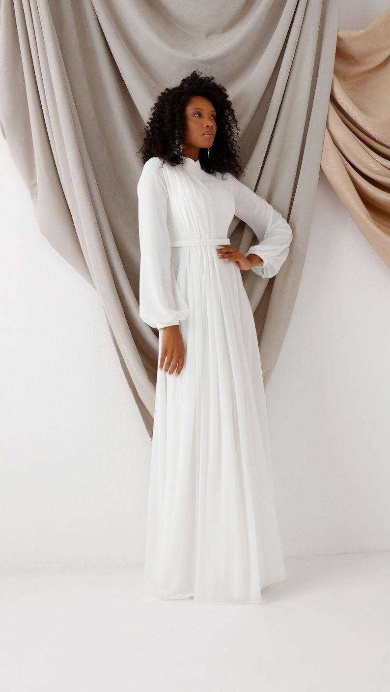Wedding Dress, Evening Gown, Long sleeve, Bridesmaid, Engagement, Henna, High Neck, Bridal Gowns, Muslim Nikah Dress