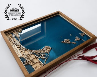 5th Anniversary Gift Wooden Map of Any City in the World | Wood and Epoxy