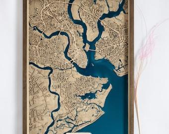 Charleston Wood Map   Wood and Epoxy