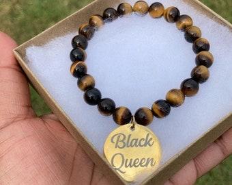 "1 ""Black Queen"" Yellow Tiger's Eye Gemstone Bead Bracelet"