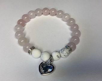 1 Crystal Heart Rose Quartz & White Howlite Gemstone Bracelet