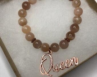 1 Queen Sunstone/Sunstone & White Howlite Gemstone Bracelet