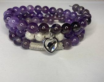 1 Crystal Heart Amethyst & Stardust Bead Gemstone Bracelet