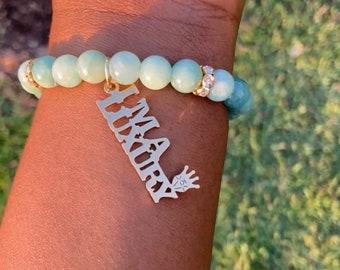 "1 African Jade ""I'm a Luxury"" Gemstone Charm Bracelet"