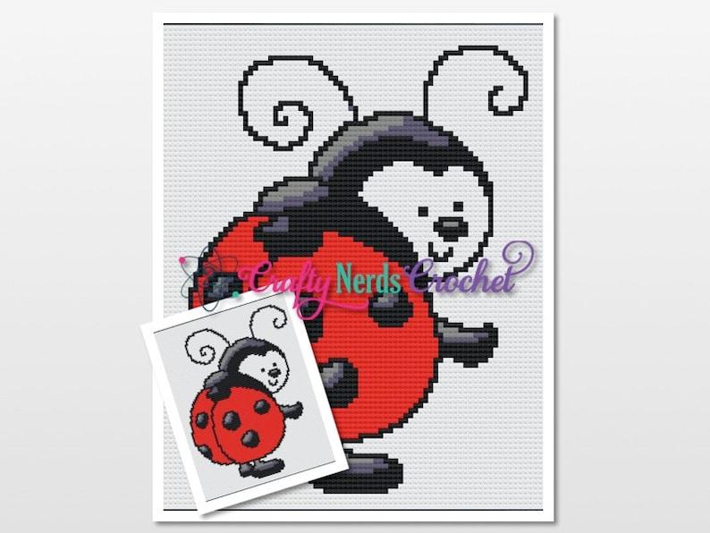 Ladybug Pattern Graph With Single Crochet and C2C Written image 0