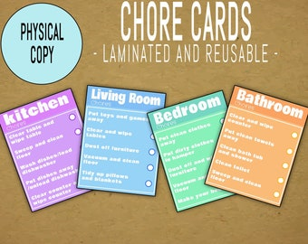 Laminated 'Chore Cards' - Includes 4 Cards - Reuse with Dry Erase Markers