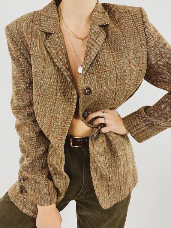 Beige wool-linen blazer