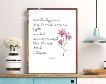 Personal Growth Art, And The Day Came To Blossom Printable Motivation, Anais Nin Quote Print Purple Flower Inspirational Poetry Gift For Her
