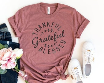 JINTING Grateful Thankful Blessed Tee Shirt for Women Graphic Tee Shirts Short Sleeve Letter Print Tee T-Shirt