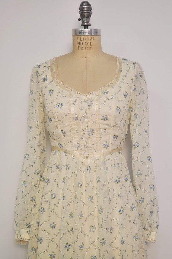1970's Long Prairie Dress || Gunne Sax Style || W… - image 5